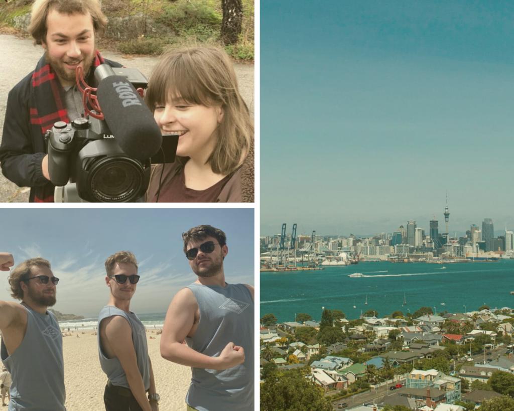 Collage med bilder fra folkehøgskoleåret. Bilde av utelandsk by, tre mannlige elever som viser muskler på stranda og en mannlig og en kvinnelig elev som filmer.