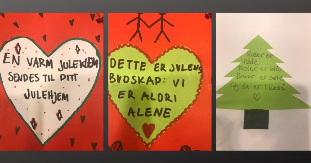 julekort, bilde, tegninger, hjerte og juletre, Agder folkehøgskole