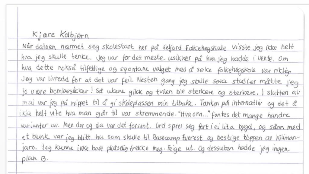 Anine har skrevet et vakkert brev til sin lærer, Kolbjørn