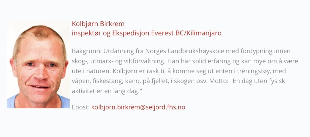Slik blir lærer Kolbjørn presentert på nettsidene til Seljord folkehøgskule