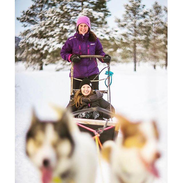 To jenter på hundekjøring folkehøgskole