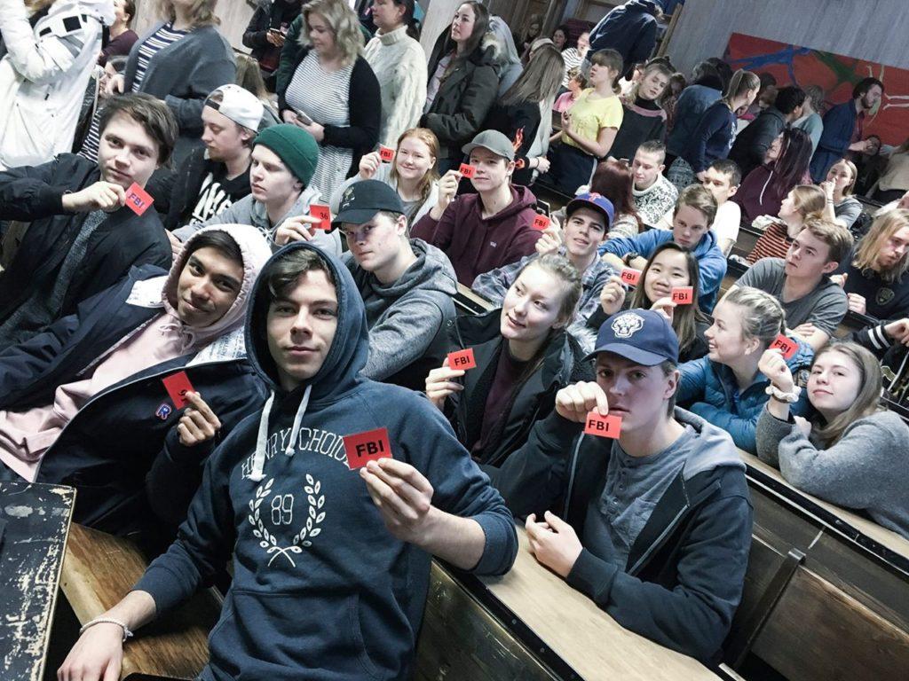 Sal med elever fra Elverum folkehøgskole.