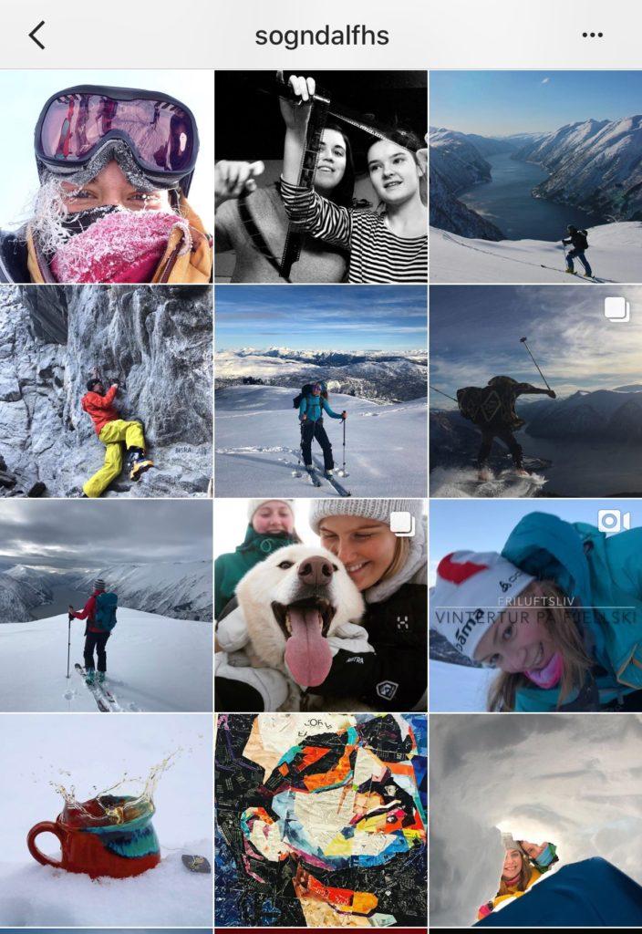Instagram bilder fra folkehøgskole, collage.