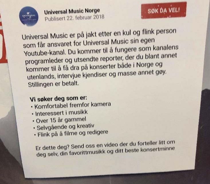 Stillingsannonse Universal Music