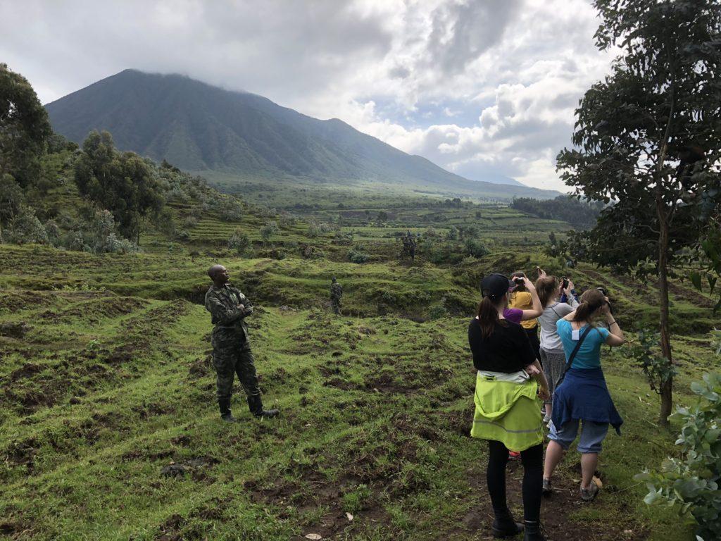 """Rwanda kalles """"the land of the thousand hills"""" og i noen av fjellene bor det både gorillaer og andre aper. Det er vakter som passer på både mennesker og dyr."""