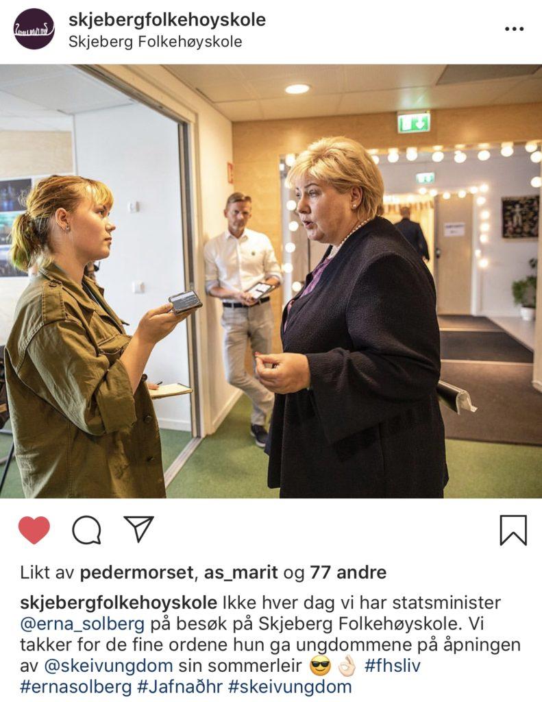 Erna Solberg, Skeiv Ungdom, Skjeberg Folkehøgskole, intervju, sommerleir, instagram
