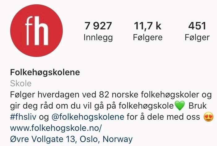 Skjermbilde av profilen til Instagram-kontoen @folkehogskolene