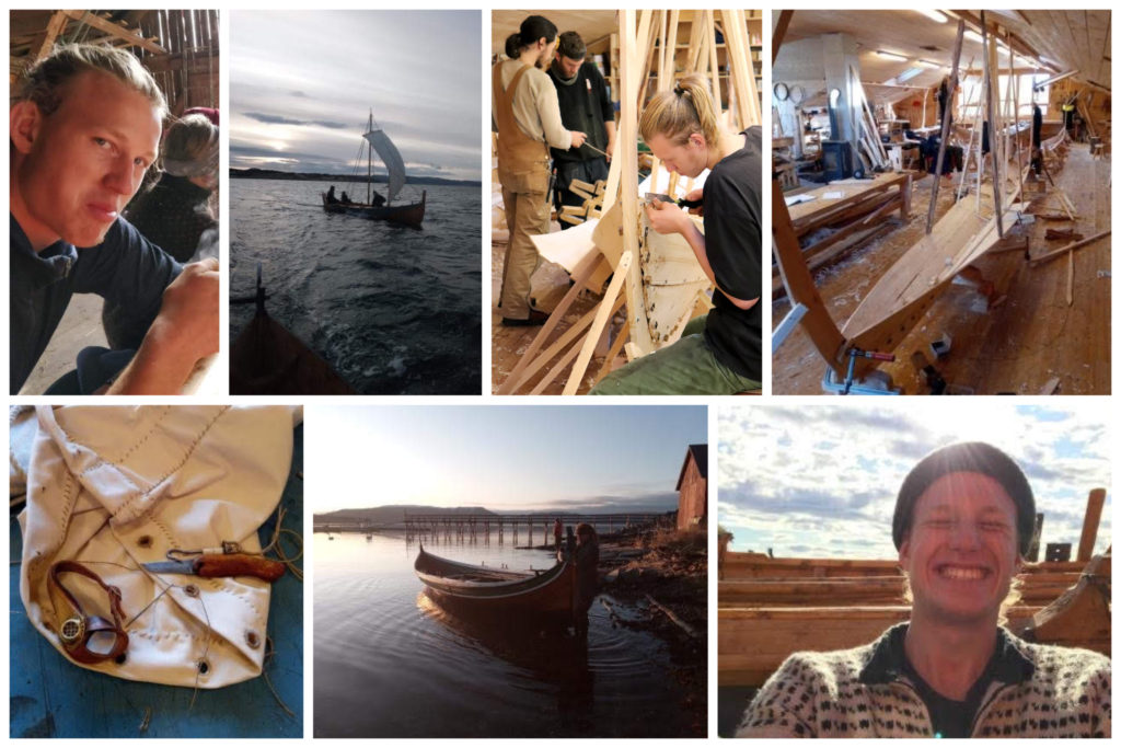 Collage med bilder fra et folkehøgskoleår, med båter og båtbygging.
