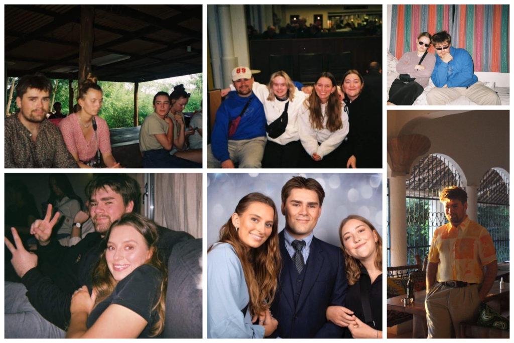 Collage med bilder av Elias og medelevene.