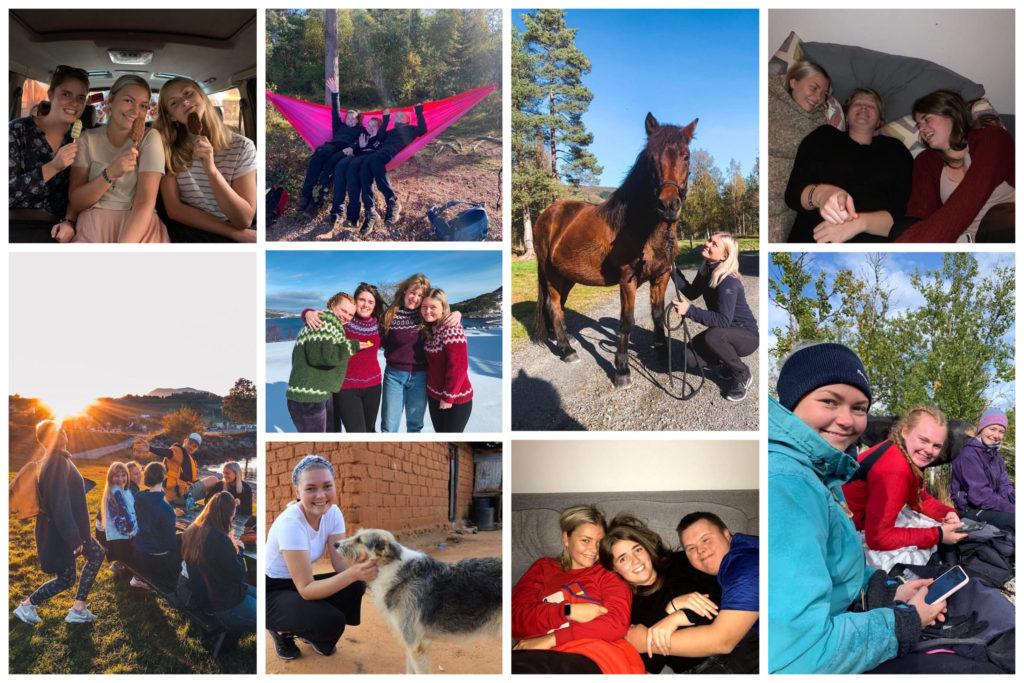 Collage med Elisabeth sine høydepunkter fra folkehøgskoleåret.
