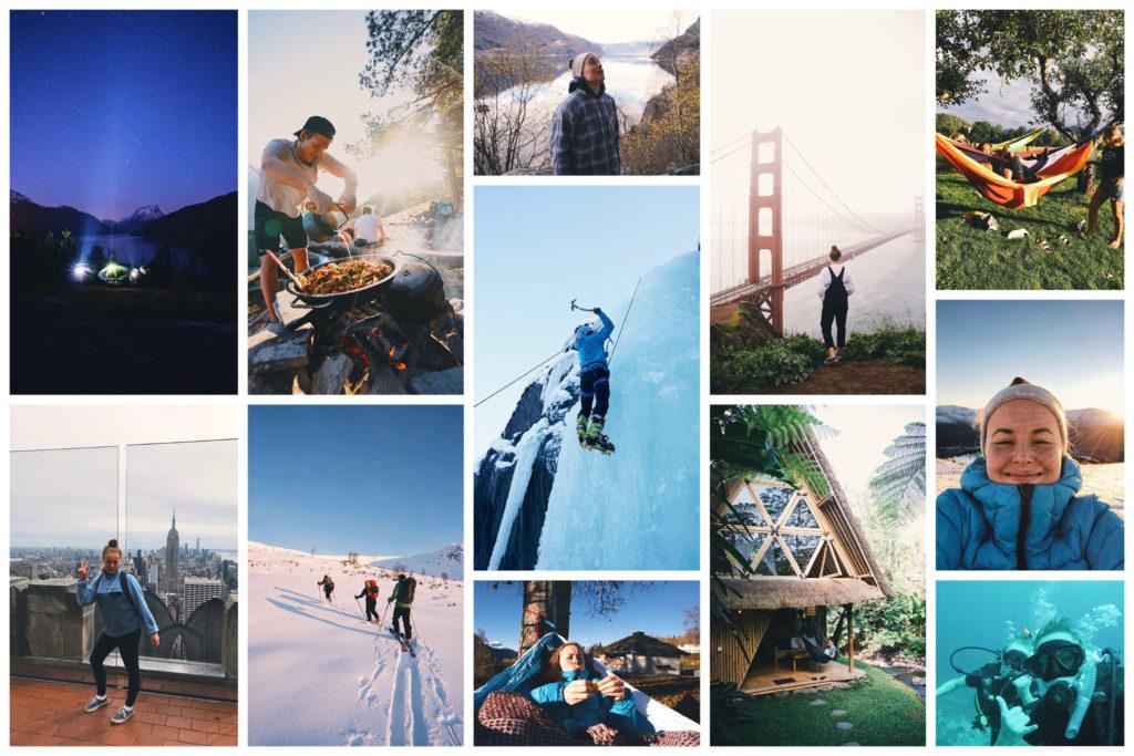 Collage med bilder fra Matilde sine opplevelser etter videregående.