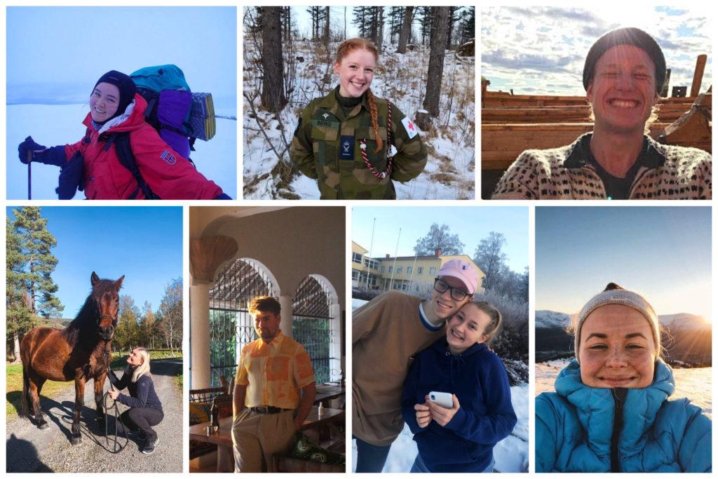 Collage med bilder av sju folkehøgskolelever.
