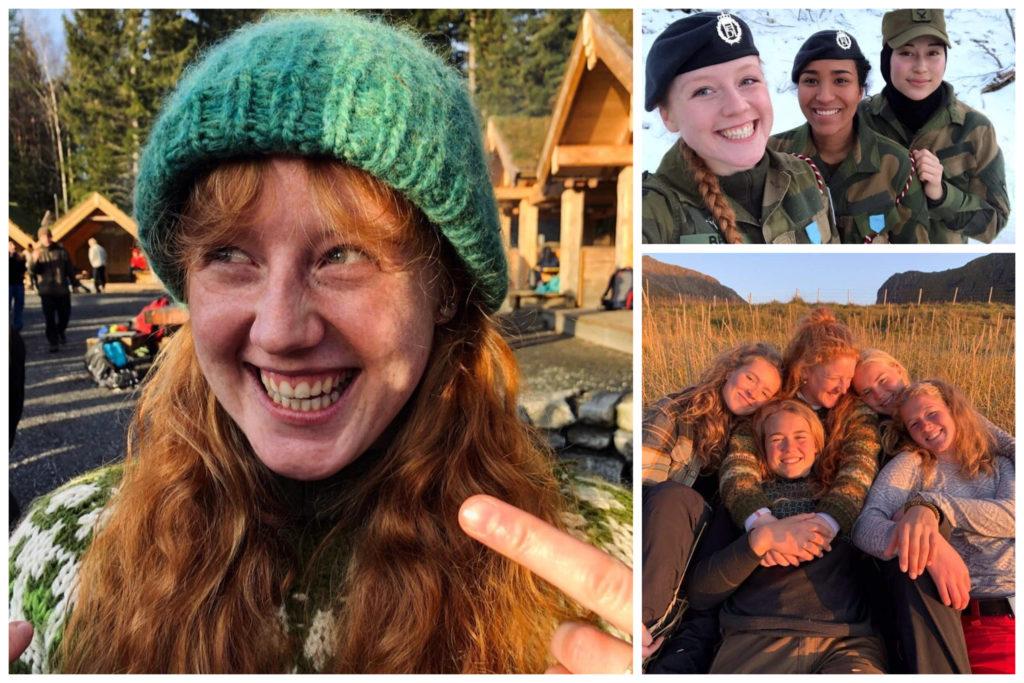 Collage med bilder av elev på folkehøgskole og i Forsvaret.