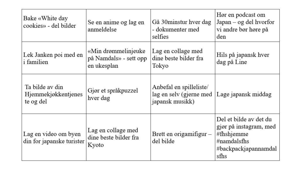 Bingobrett oppgaver Namdals folkehøgskole