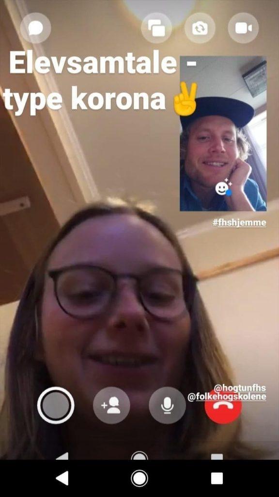 Facetime skjermbilde lærer og elev Høgtun folkehøgskole