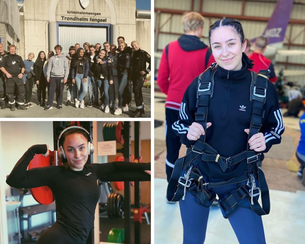 Collage av kvinnelig elev, nærbilder fra trening og fallskjermhopp og gruppebilde foran Trondheim fengsel.