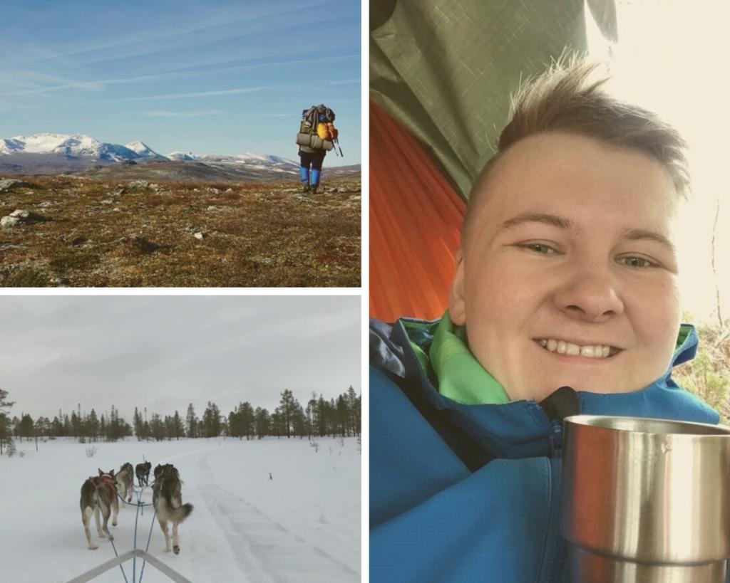 Collage med bilder fra året til en elev. Nærbilde i hengekøye med kopp, bilde bakfra med sekk på fjjellet og bilde fra hundespannkjøring.