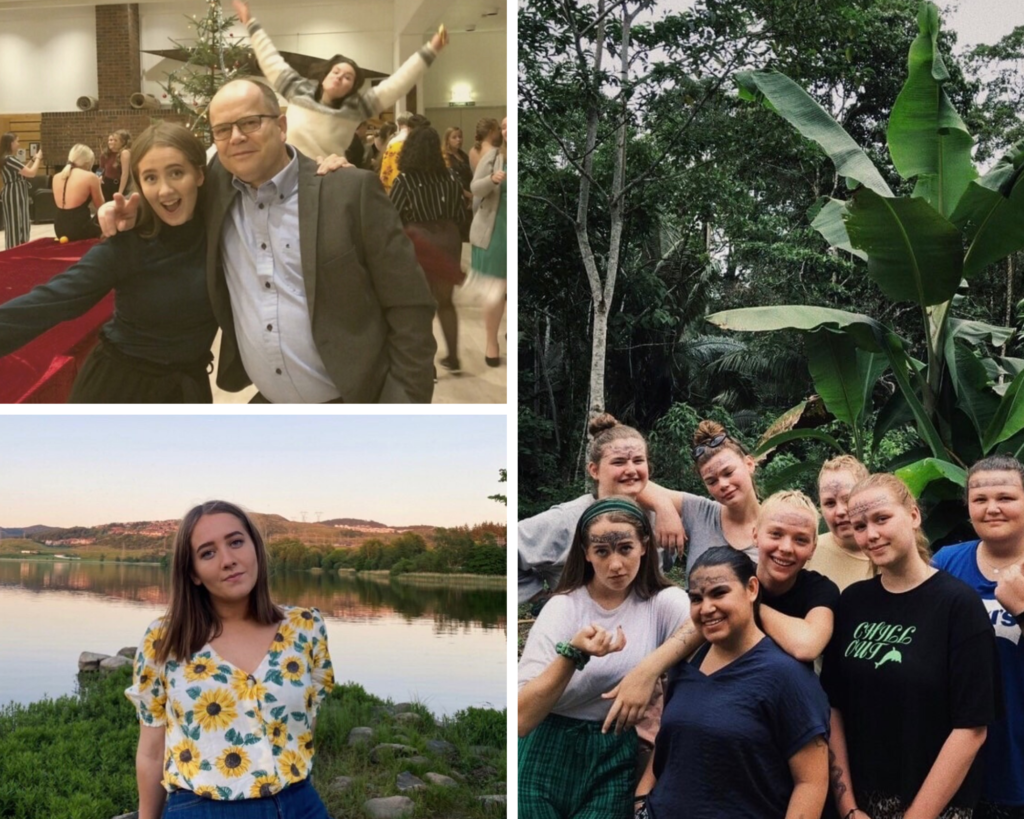 Samling av bilder fra skoleåret. Bilde med rektor, bilde av elev og bilde av klassen på tur i Latin.Amerika.