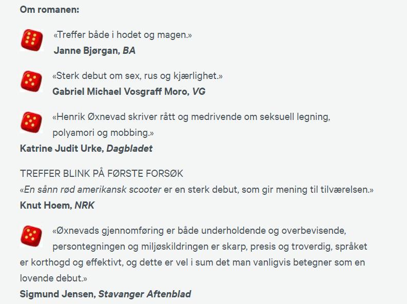 skjermbilde av ulike kritikker av debutromanen