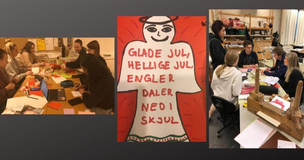 elever, gruppebird, julekort, skriver kort