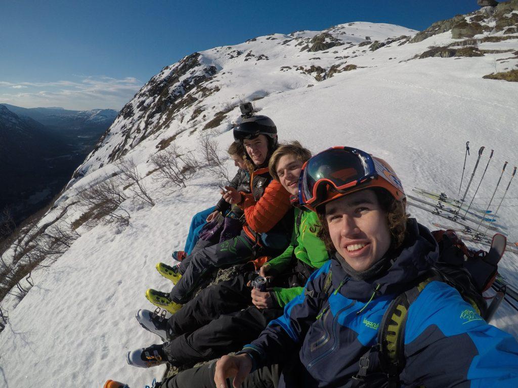 ski, gruppebilde, fjell, utsikt