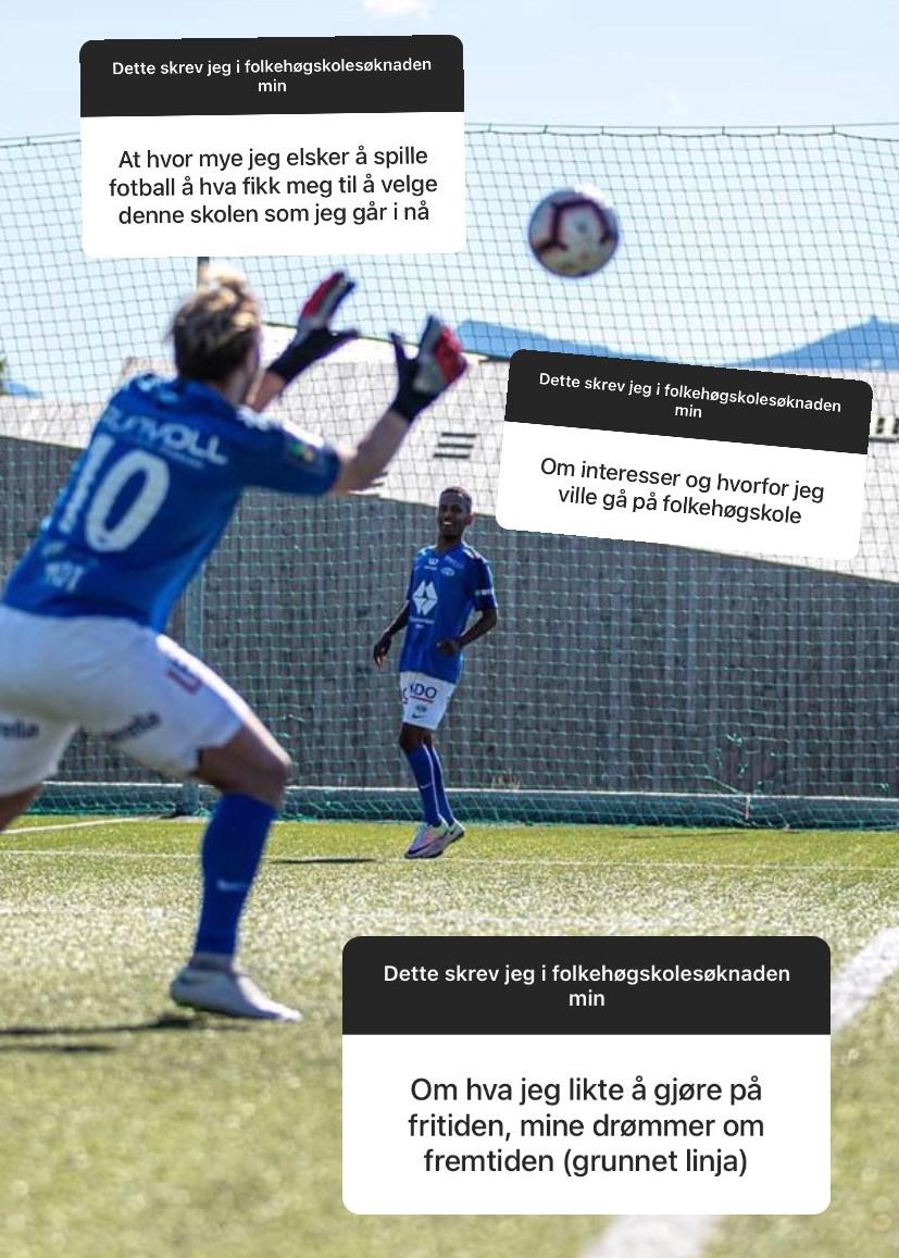 Skjermbilde fra Instagram Story. Gutter spiller fotball.