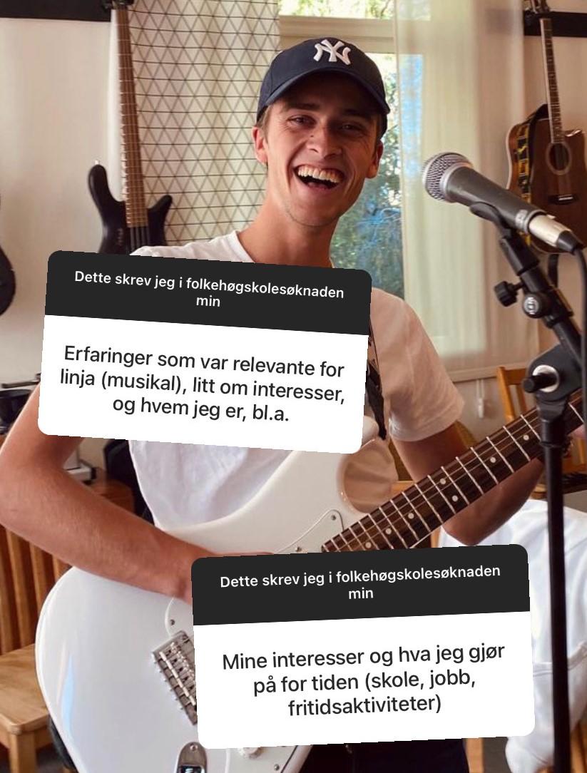 Skjermbilde fra Instagram Story. Gutt med gitar.