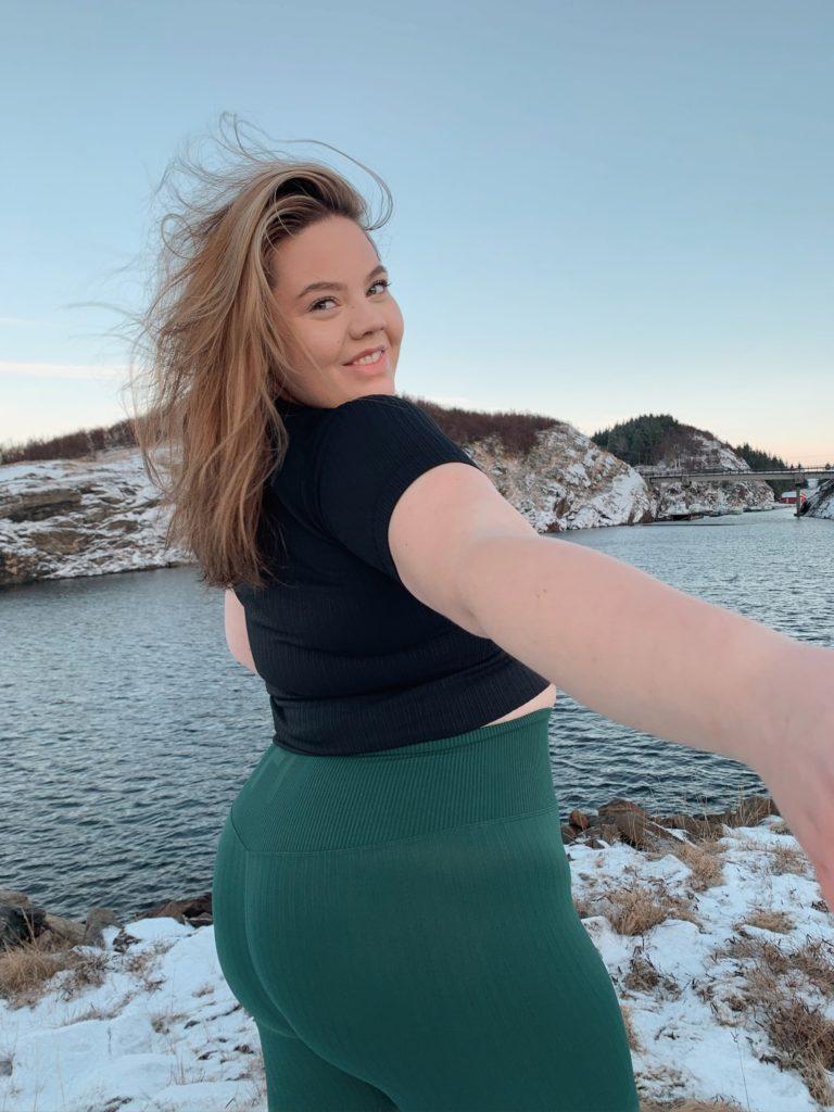 Sonja Iren selfie, ute ved havet